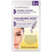 Skin Republic Two Step Sheet Mask Hyaluronic Acid and Collagen + Microdermabrasion & Peel