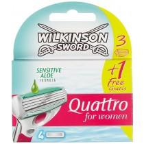 Wilkinson Sword Quattro for Women Sensitive Razor Blades – 3 Plus 1 Free
