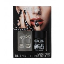 Nails Inc Bling it On Black Leather and Skulls Nail Polish Set