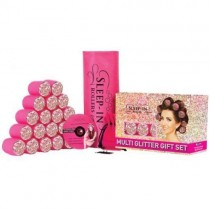 Sleep-In Rollers Multi Glitter Gift Set Pink Draw String Bag